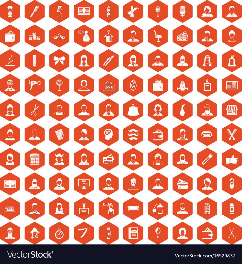 100 hairdresser icons hexagon orange