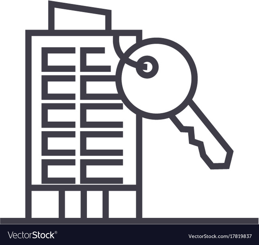 Apartment house with key line icon sign