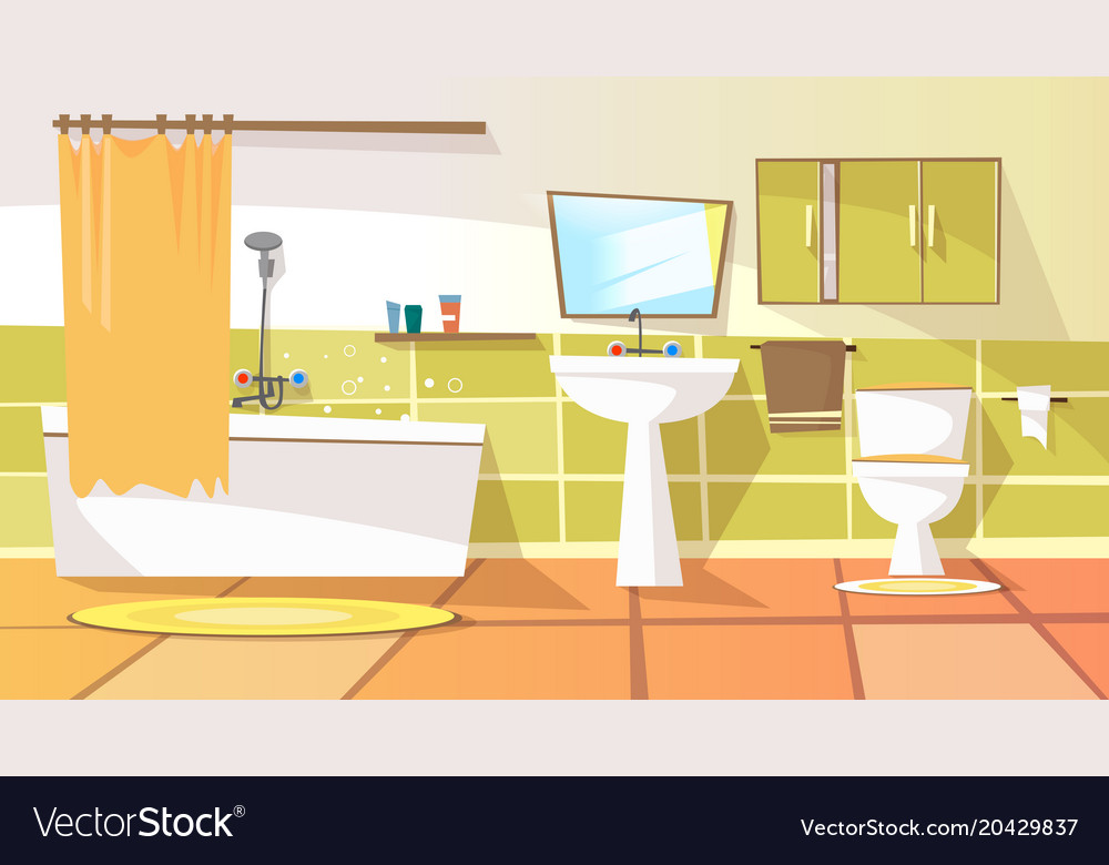 Cartoon bathroom interior background royalty free vector for Image of a room