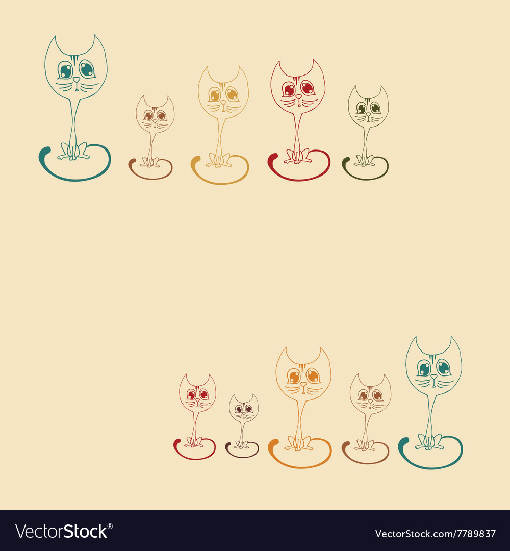 Cute kitten colored outline