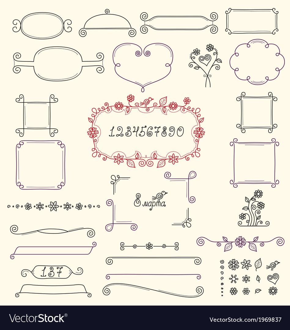 Doodle floral design elements