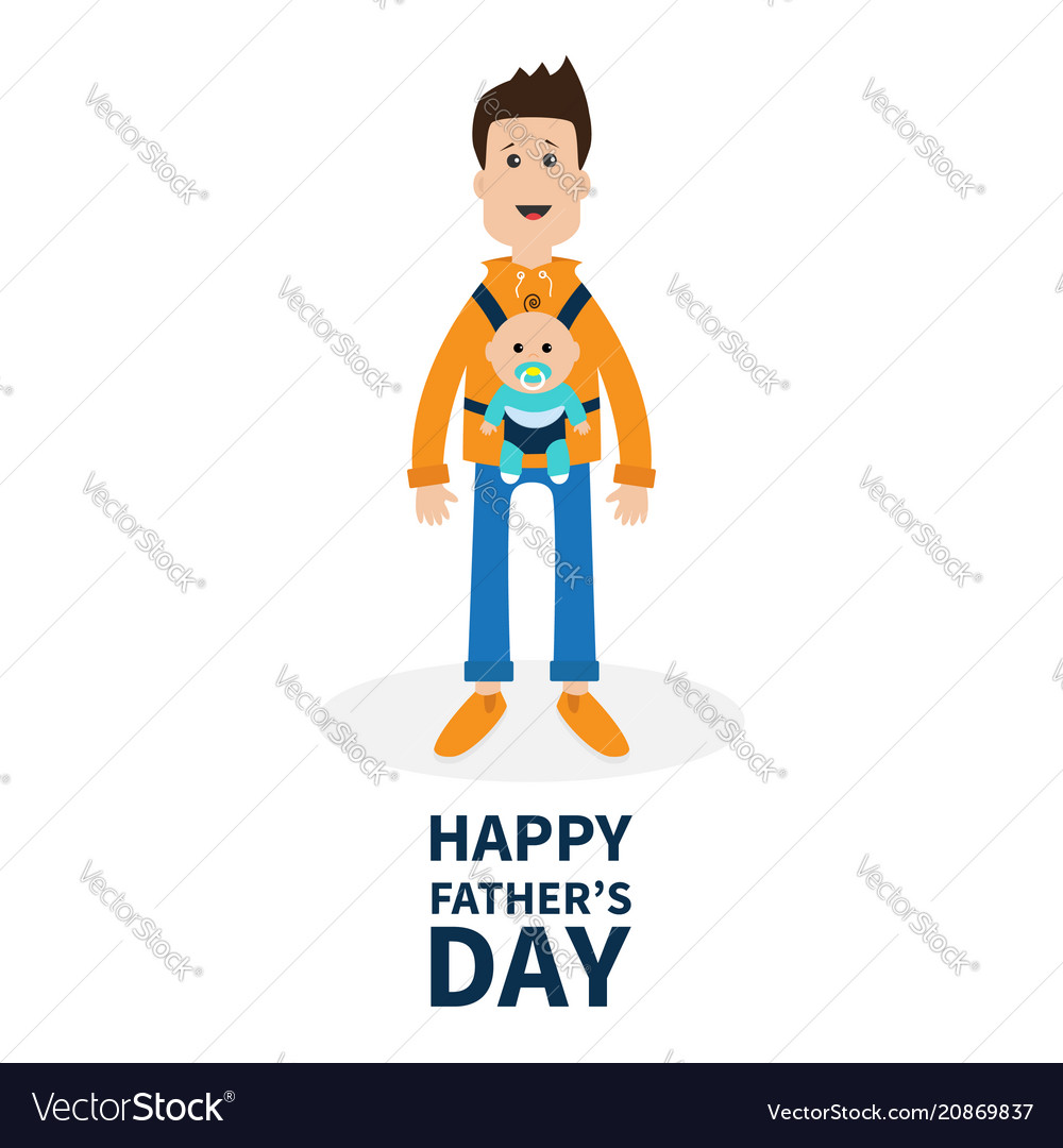 Happy fathers day funny cartoon guy cute male