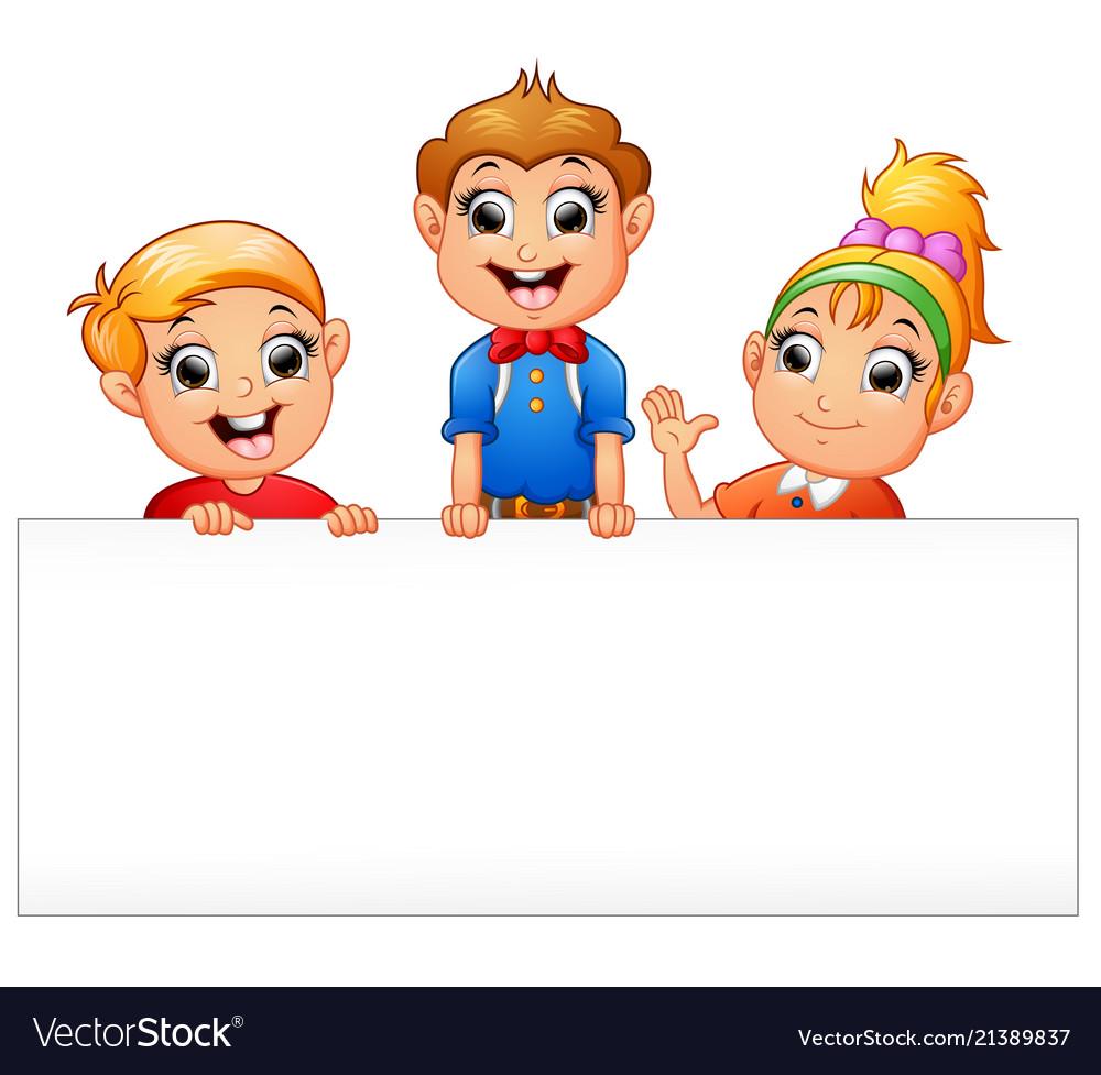 Happy kids cartoon holding blank sign