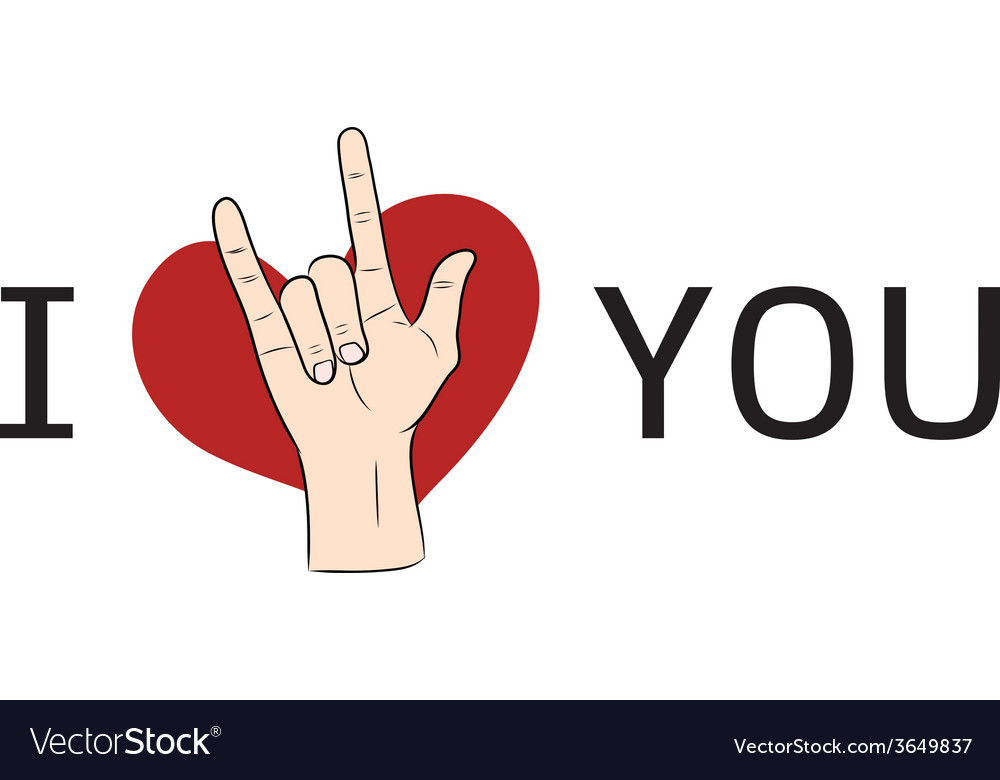 Download I love You hand sign with red heart Royalty Free Vector
