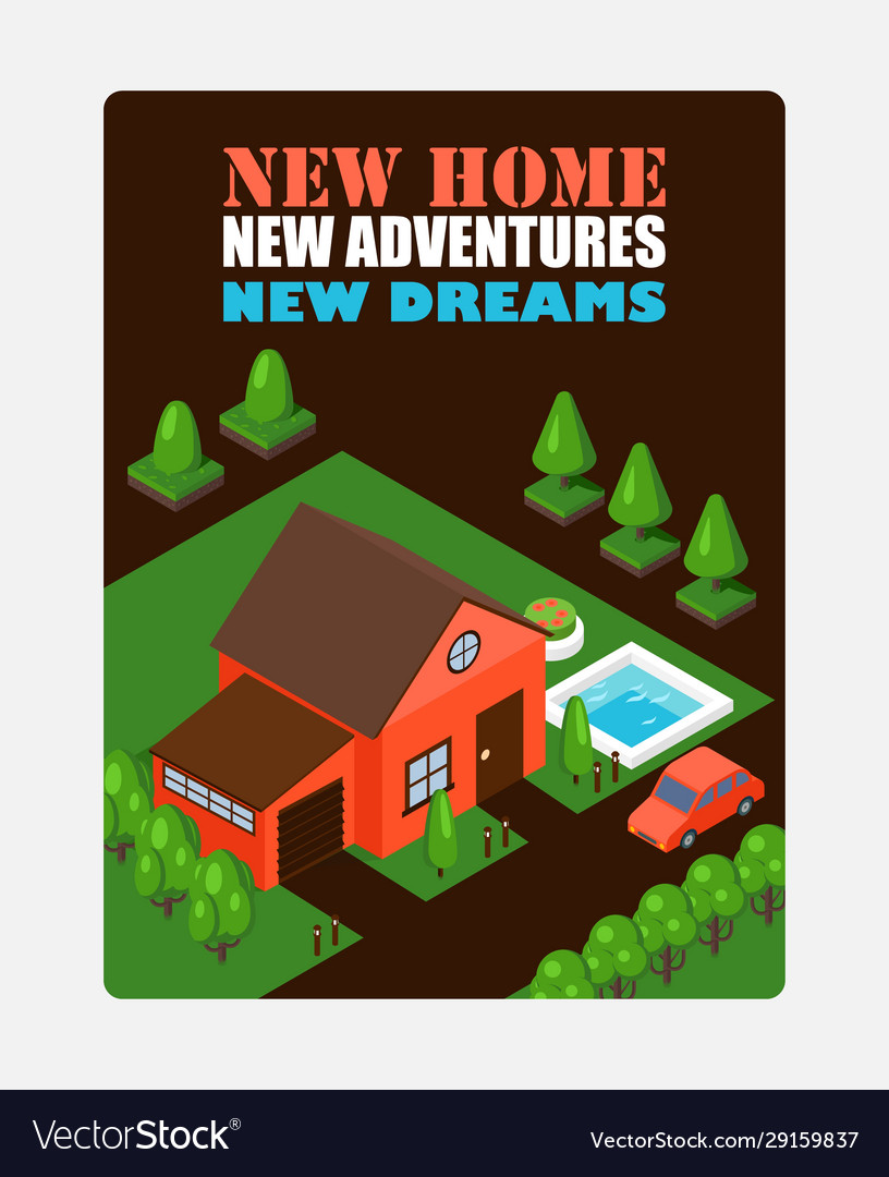 Isometric house on inspirational poster