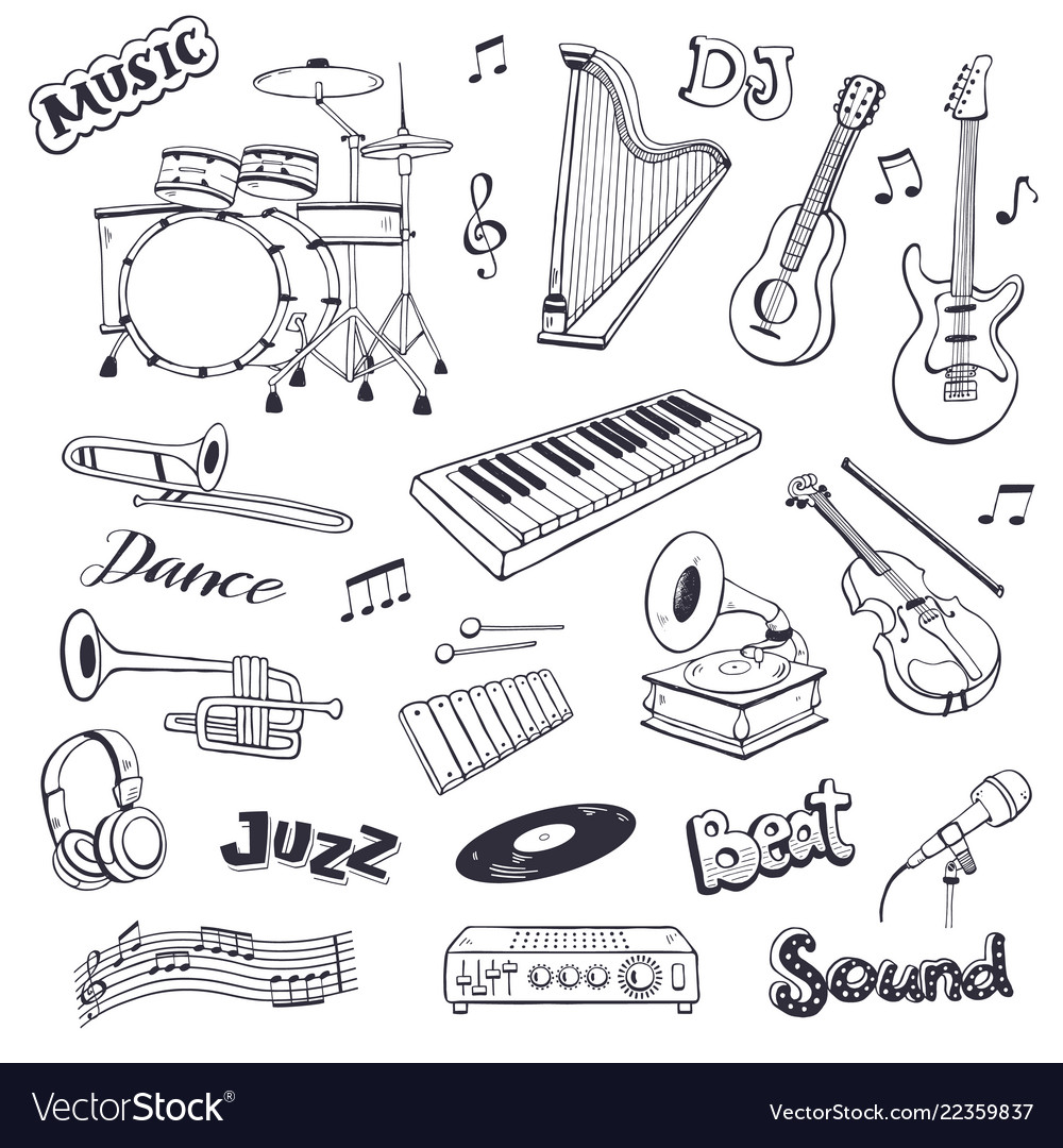 Musical elements set vector