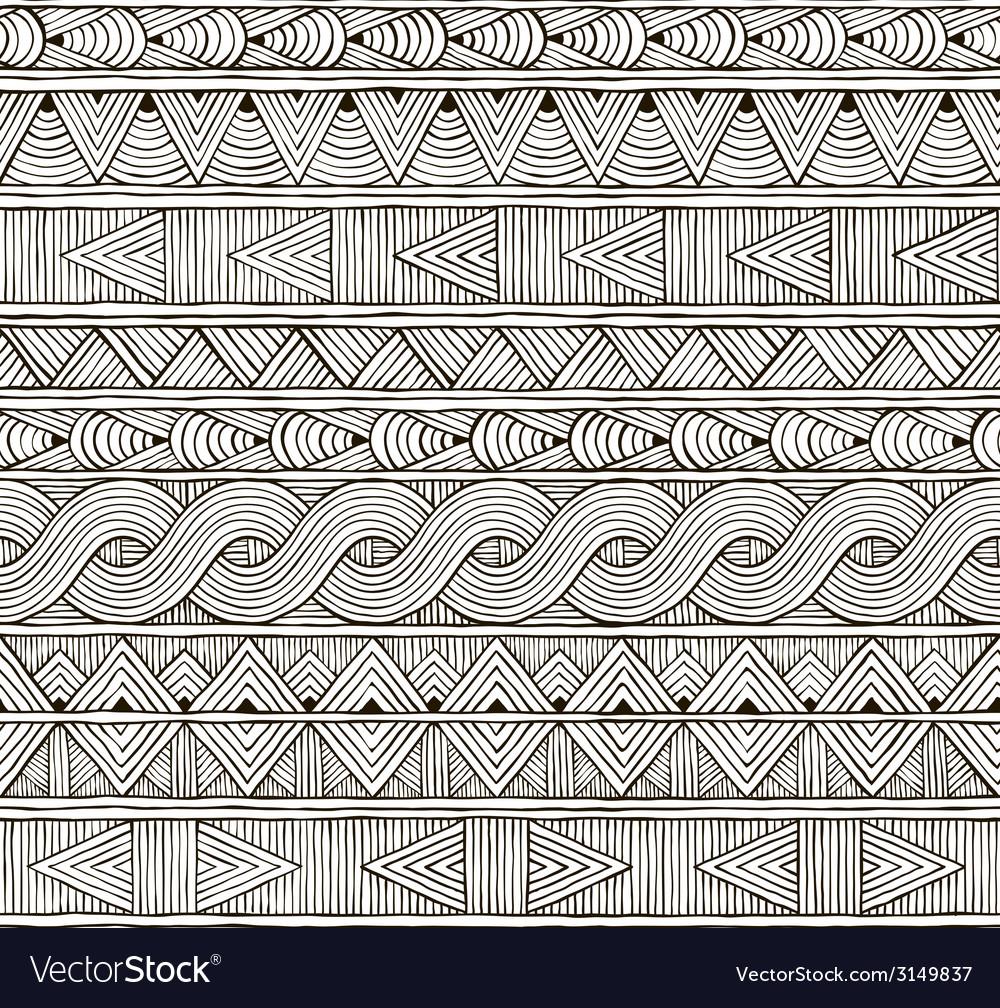 Seamless tribal pattern Hand-drawn background