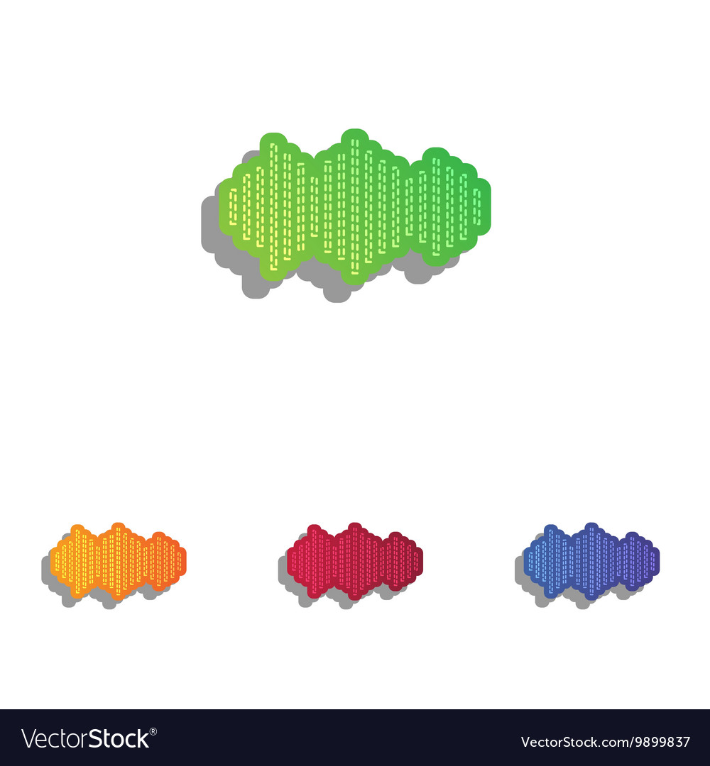 Sound waves icon Colorfull applique icons set