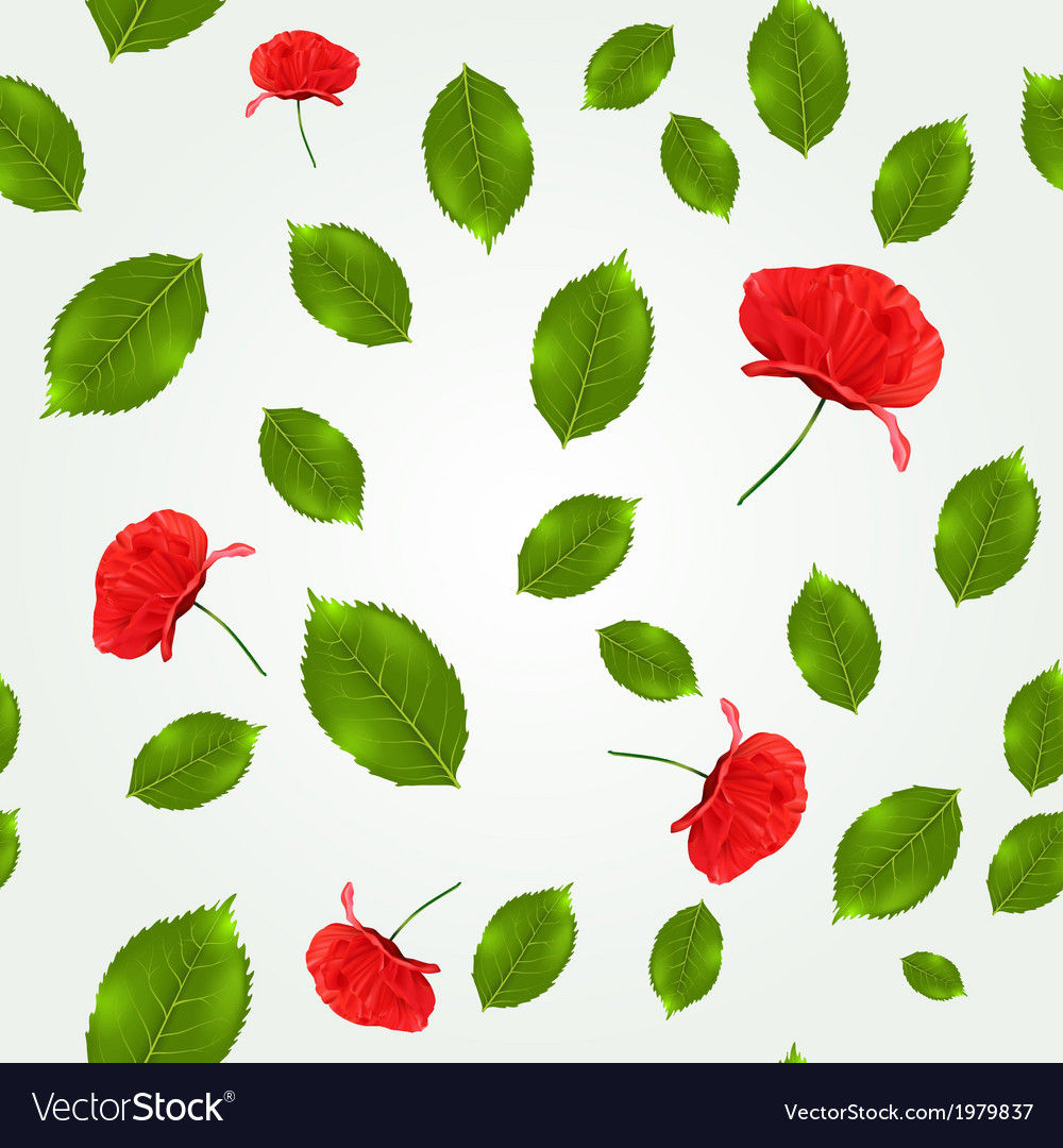 Spring seamless pattern with leaves and poppies