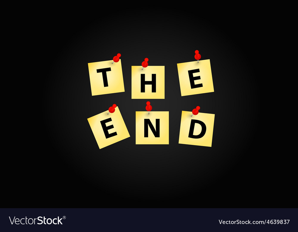 the end screen design template royalty free vector image