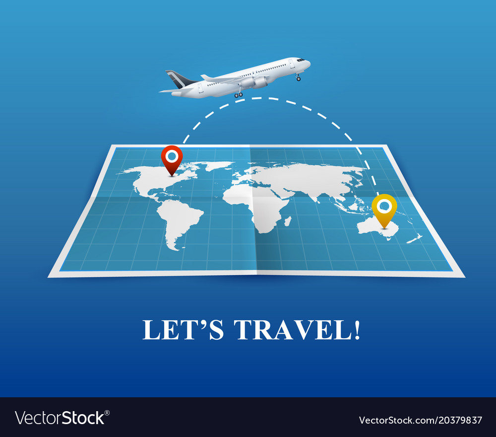 Travel by airplane realistic composition vector image