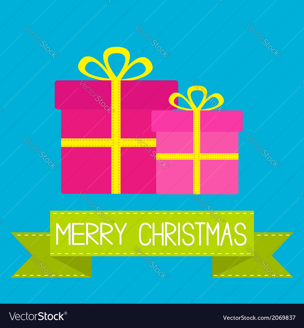 Two gift boxes with ribbons and bows Christmas vector image