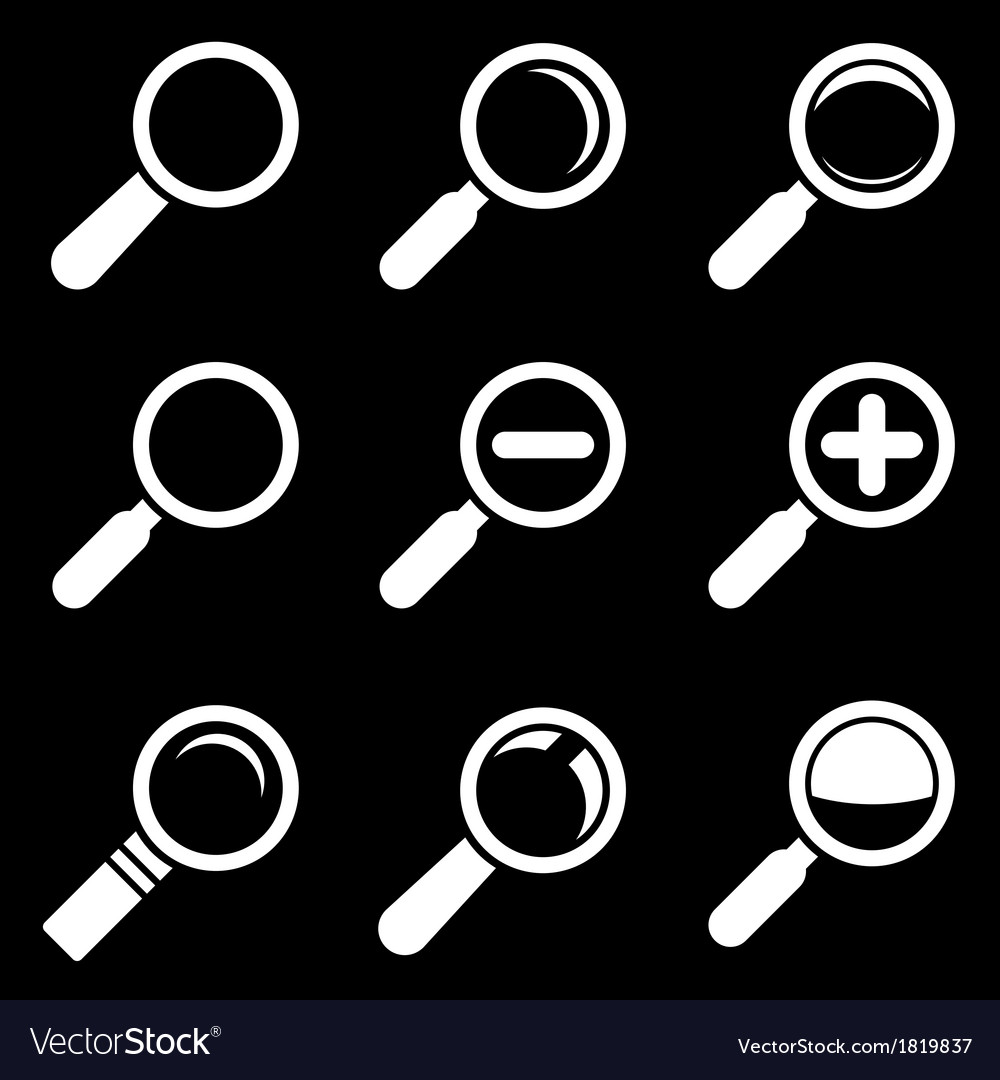 White Magnifier Glass Icons