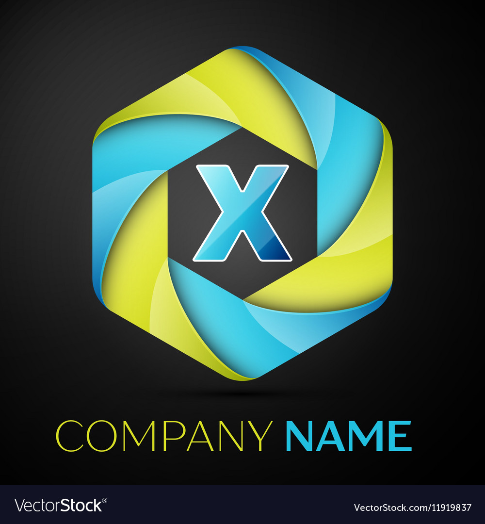 X Letter colorful logo in the hexagonal on black vector image