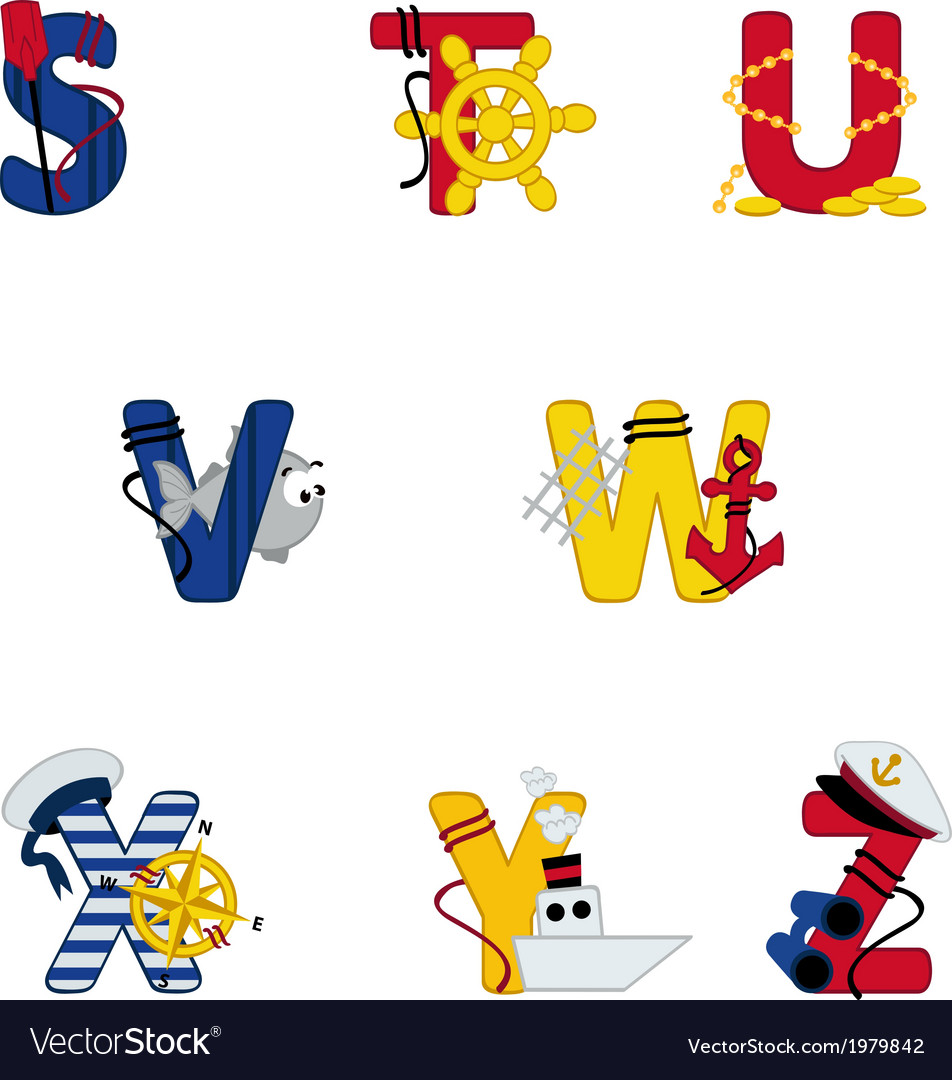 Alphabet sea from S to Z vector image