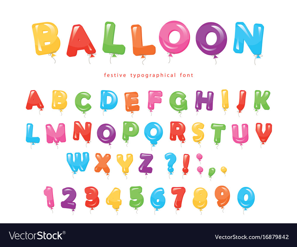 Balloon colorful font festive glossy abc letters vector image