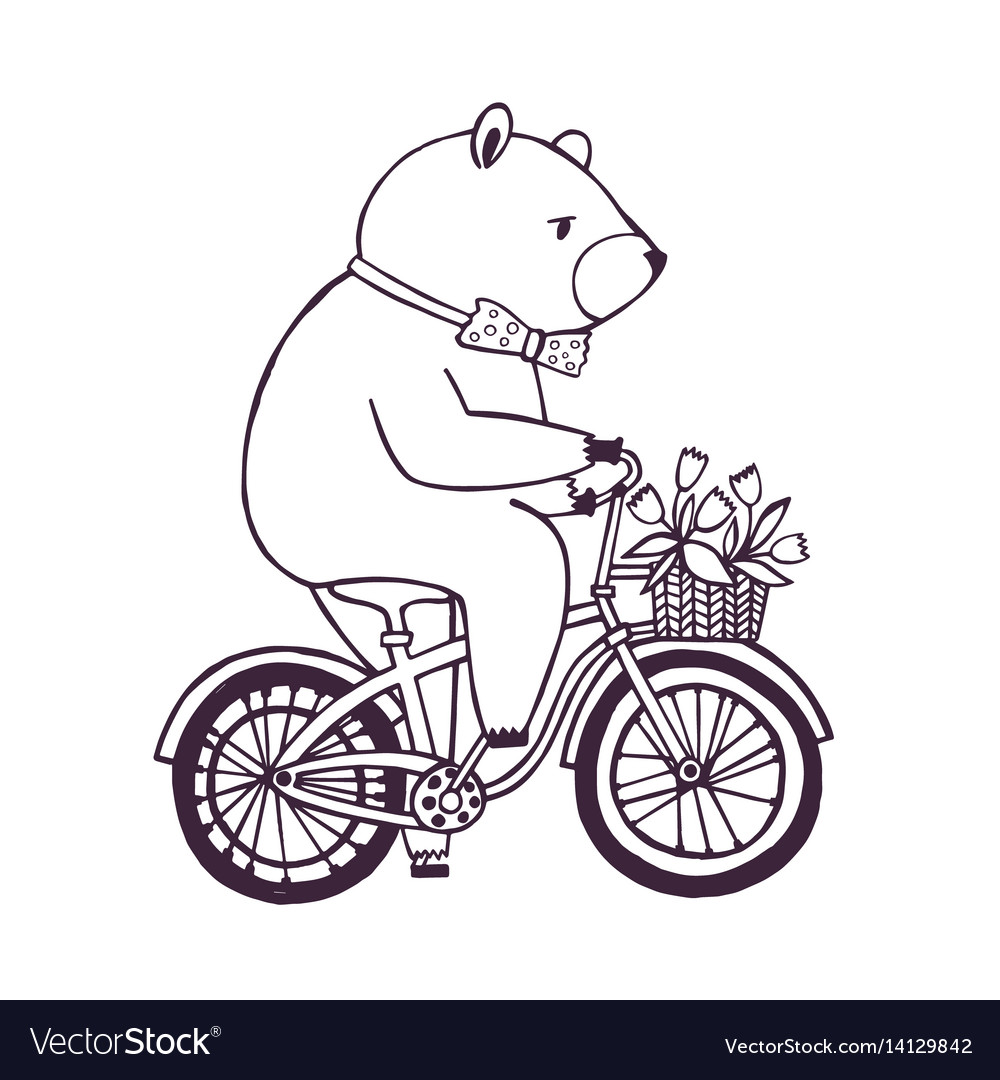 Bear on the bicycle with basket and flowers