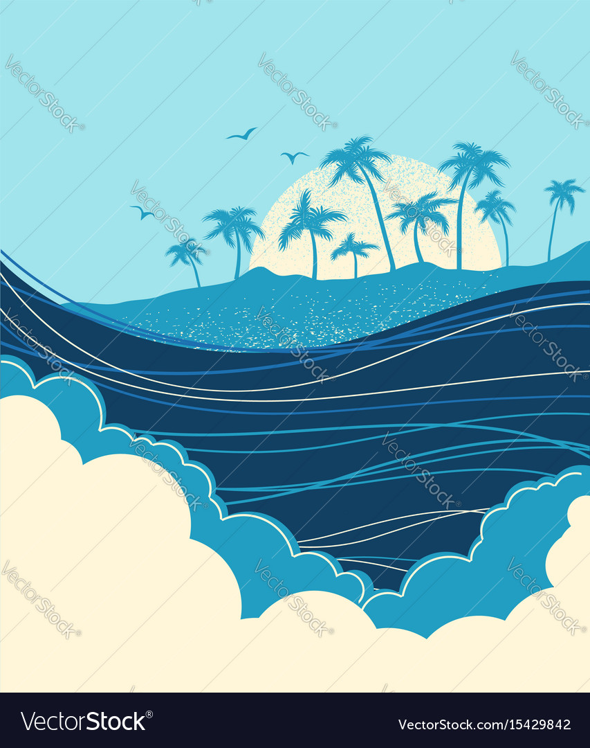 Big ocean waves and tropical island with palms