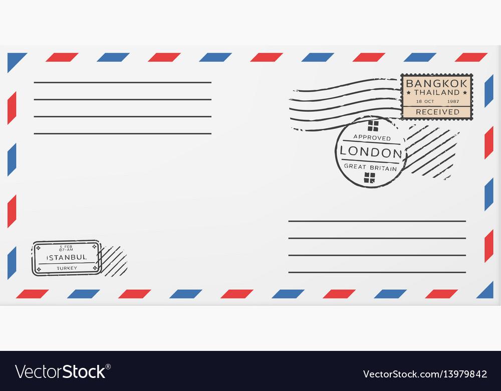 blank horizontal postal envelope template vector image