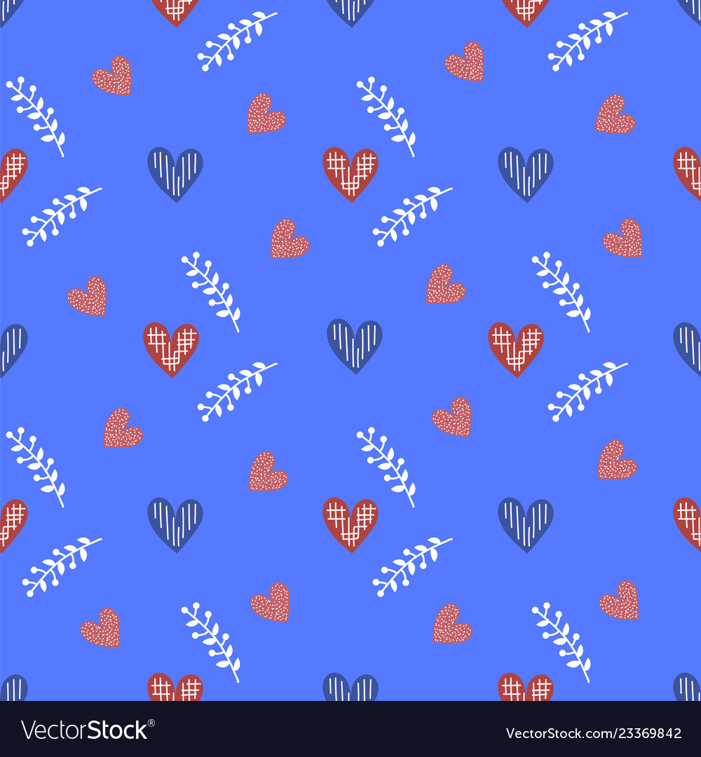 Blue heart valentines day seamless pattern