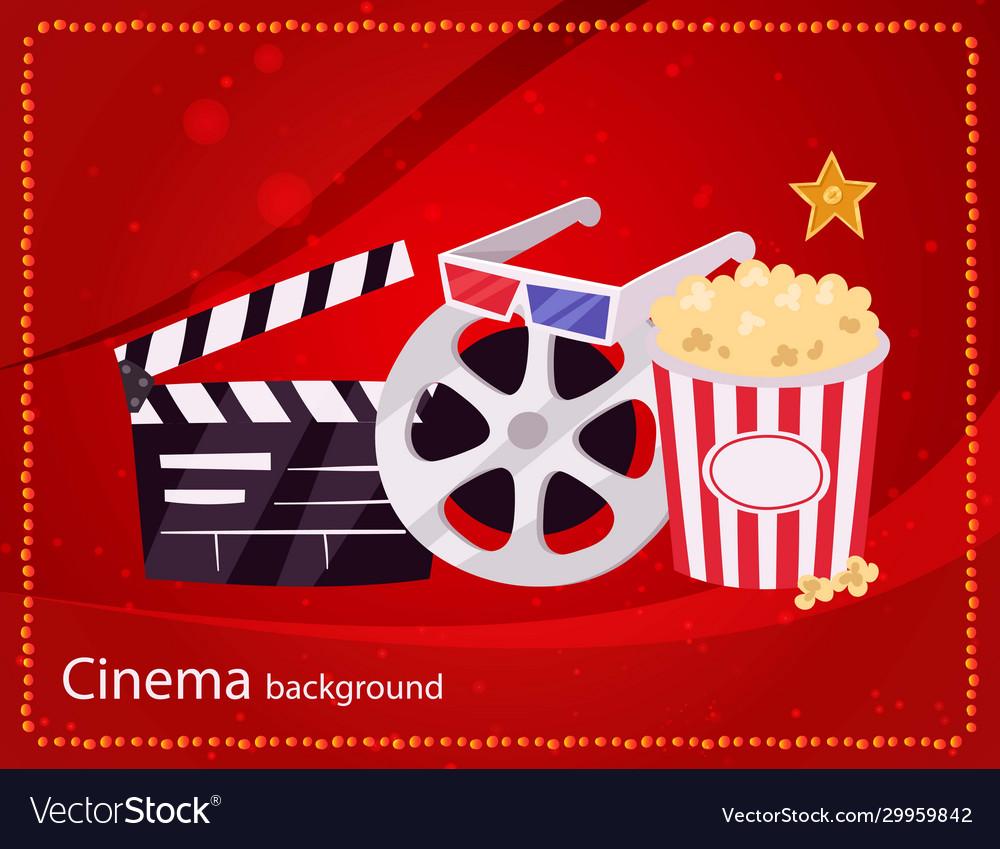 Cinema movie and popcorn bowl film bobbin and