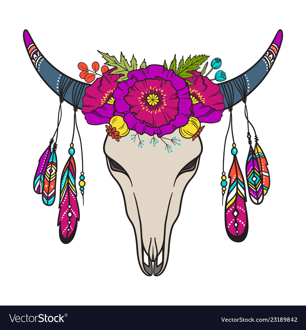 Cow skull decorated with flowers