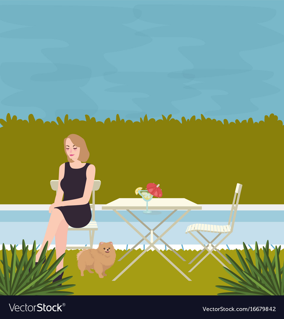Girl sitting alone with the dog on side of