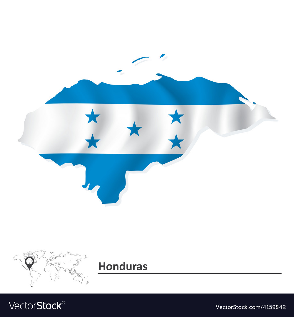Map of Honduras with flag vector image