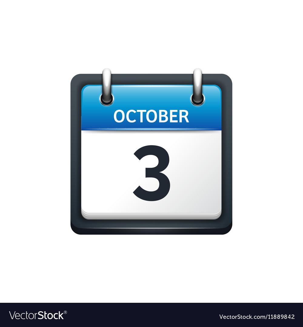 October 3 Calendar icon flat vector image