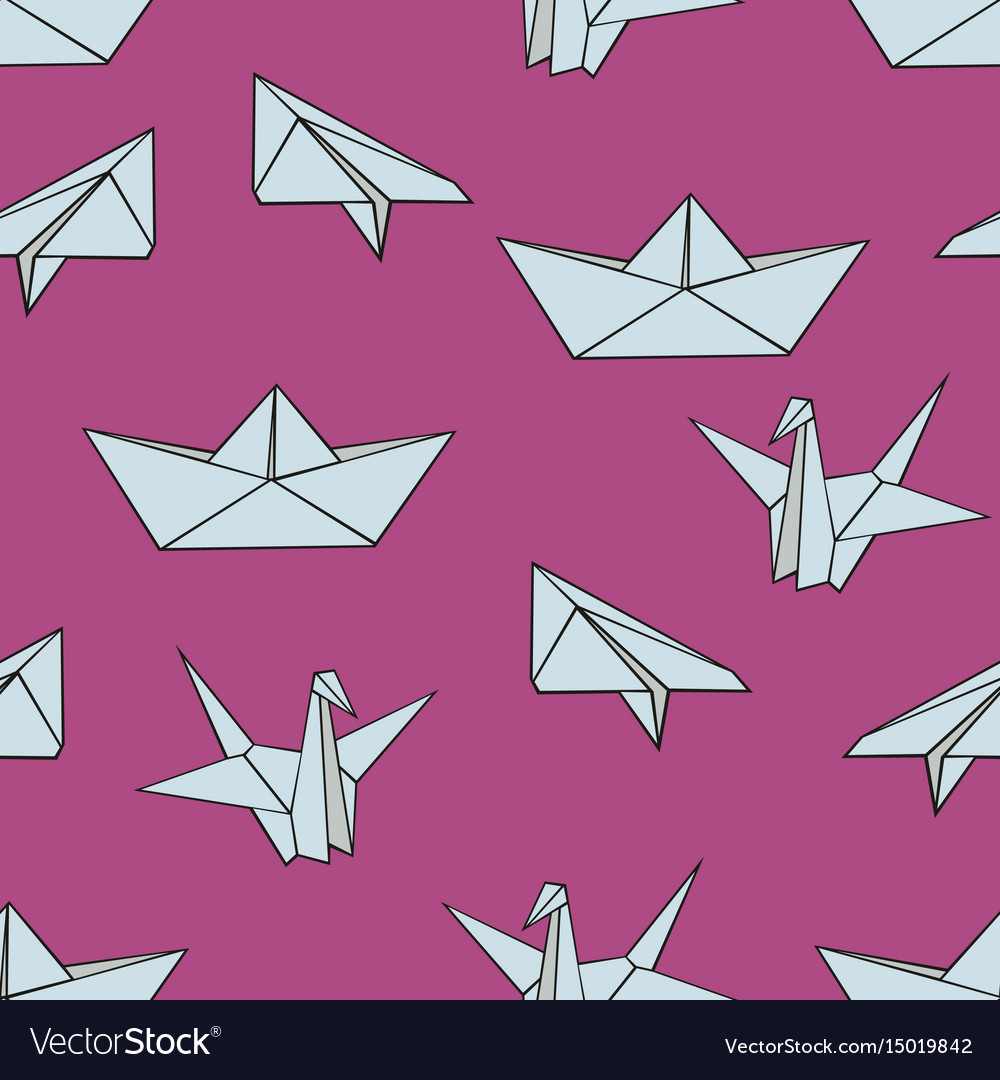Origami seamless pattern with origami figures on