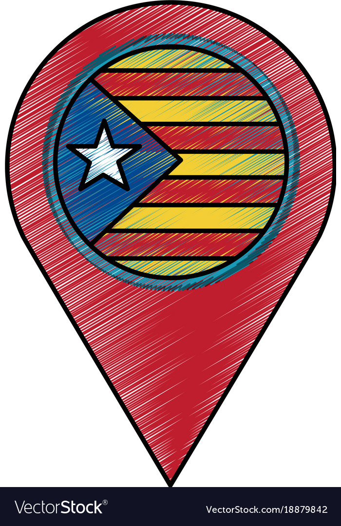 Pin map catalonia flag location concept