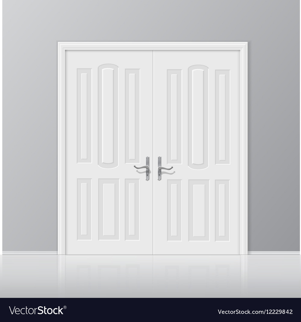 White closed door with frame isolated