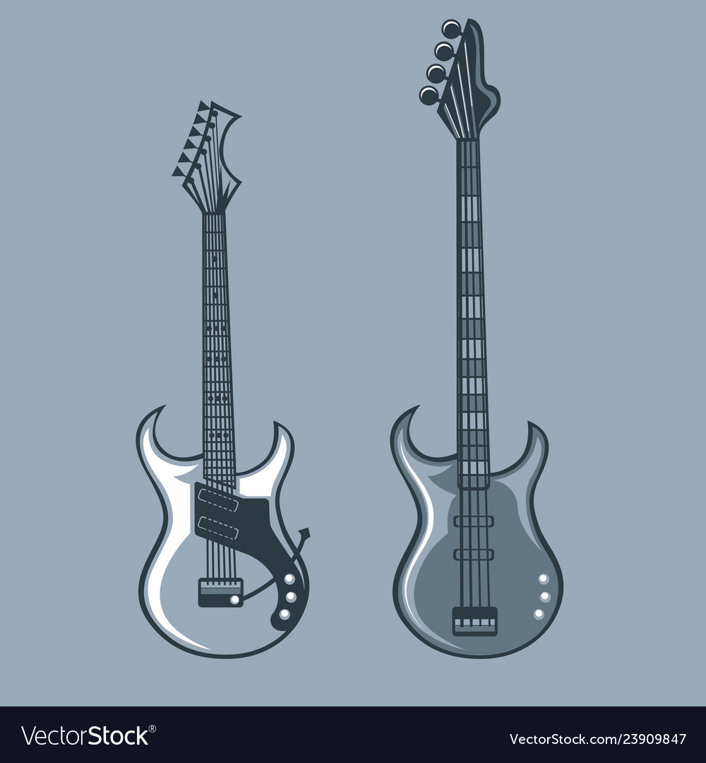 Bass and solo guitars monochrome tattoo style