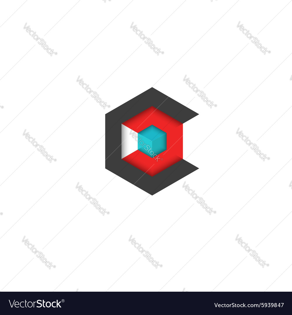 C logo cube isometric 3D hexagon abstract vector image