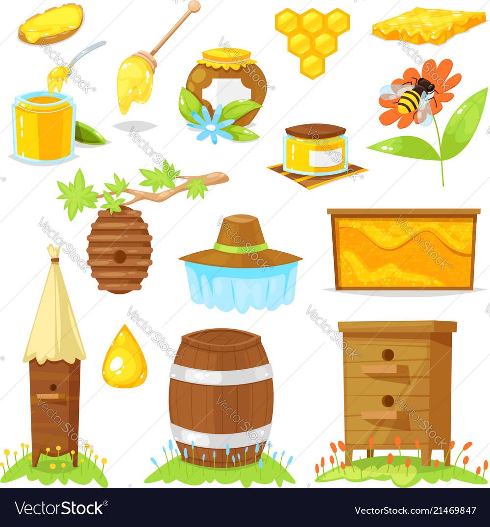 Cartoon elements beekeeping