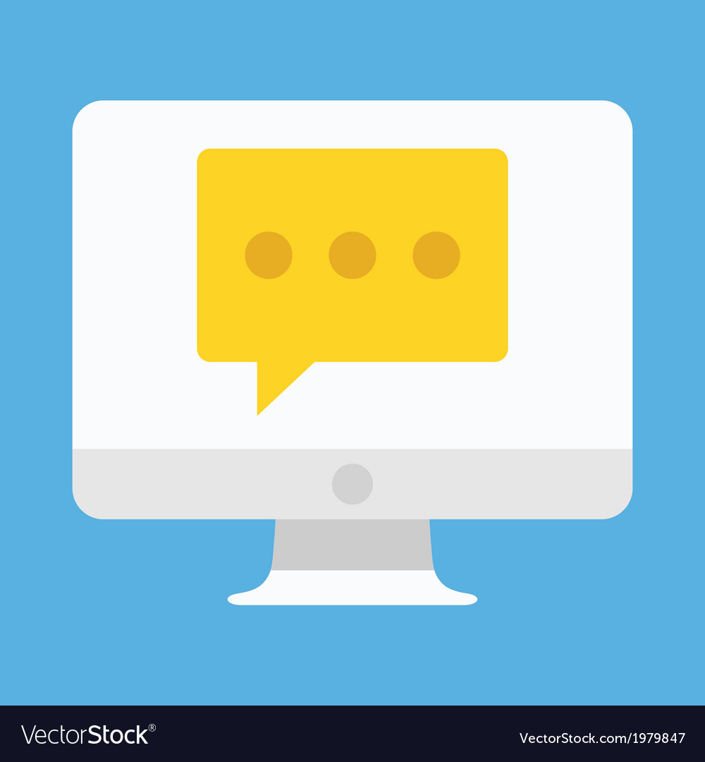 Computer Display Chat or Message Icon vector image