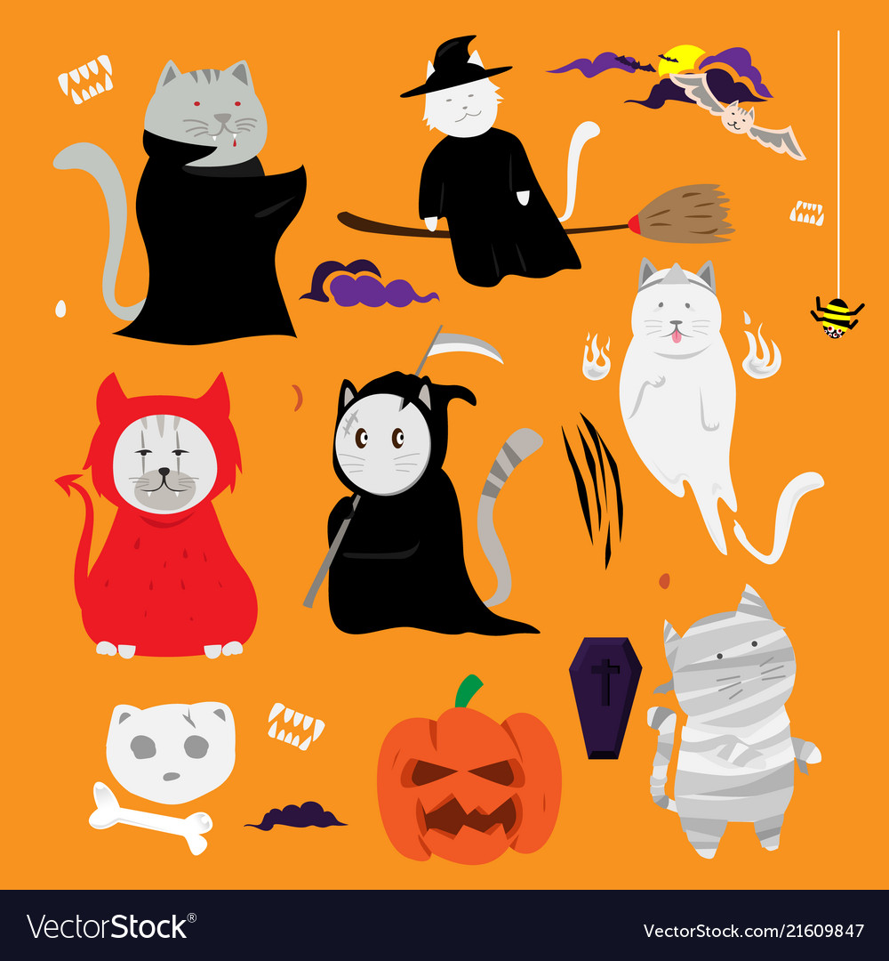 cute cat hand drawn cartoon halloween theme vector image