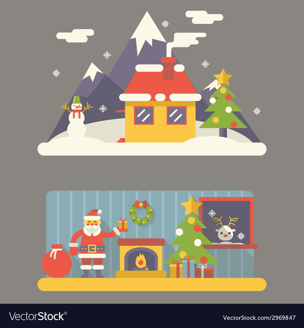Flat Design New Year Landscape and Room Situation