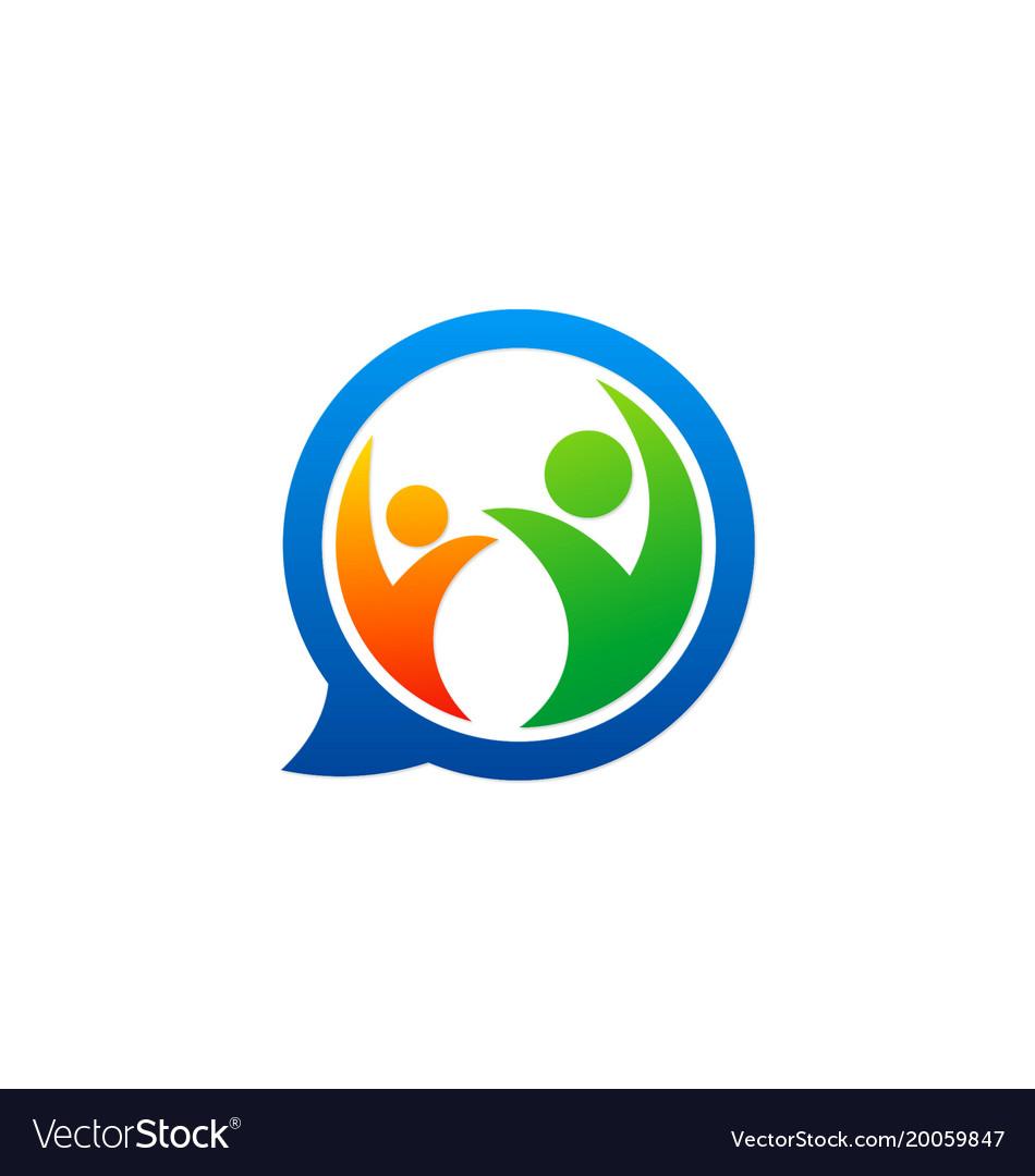 Happy people chat communication logo