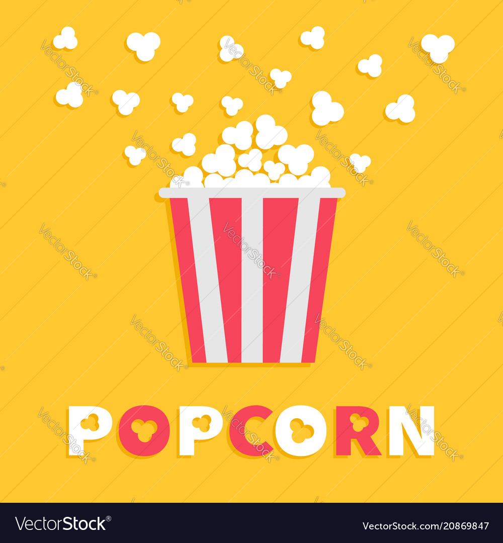Popcorn popping red yellow strip box package
