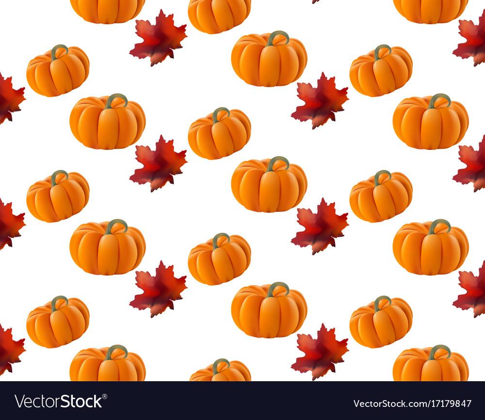 pumpkin pattern background leaves autumn vector image rh vectorstock com