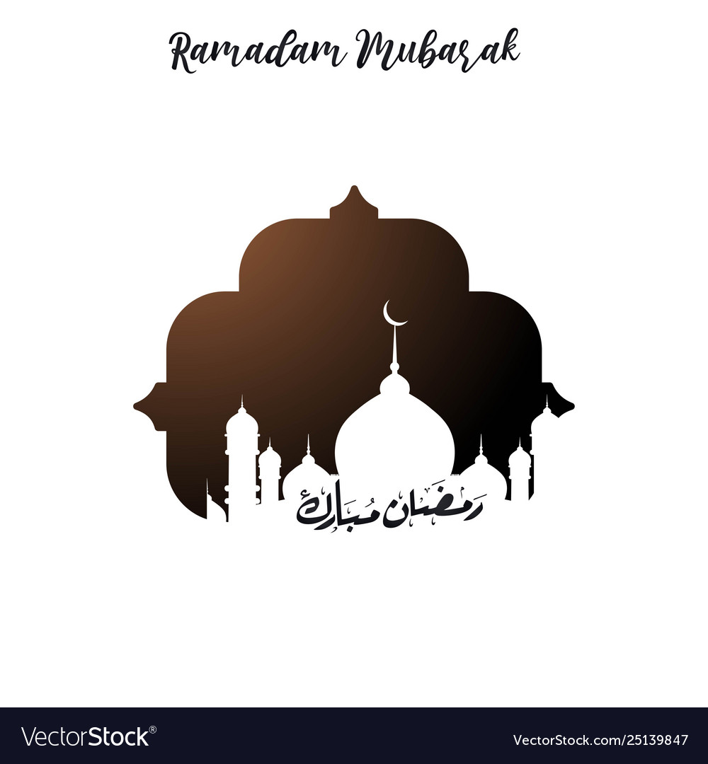 Ramadan mubarak urdu lettering on mosque tempalte