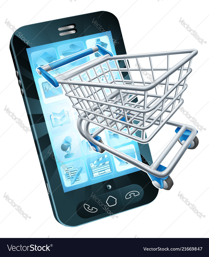 0a36994b377 Shopping cart mobile phone Royalty Free Vector Image
