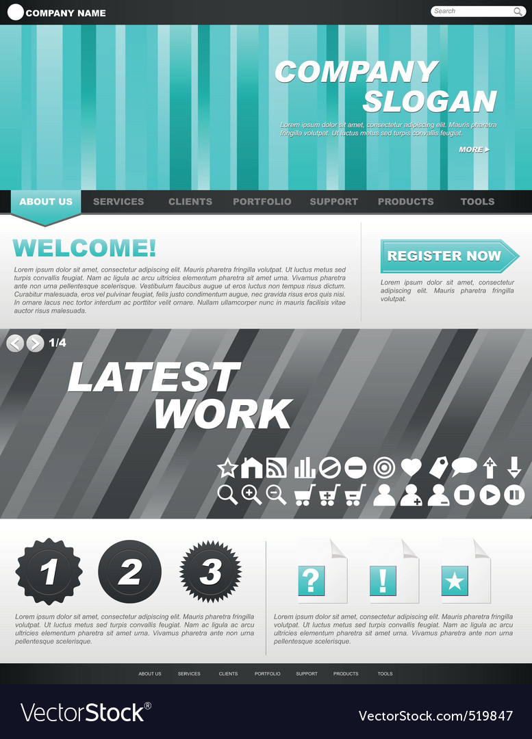 Template for company website Royalty Free Vector Image