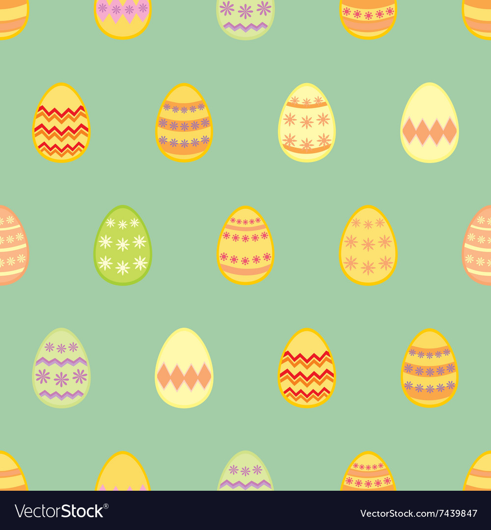 Tile pattern with easter eggs on mint green