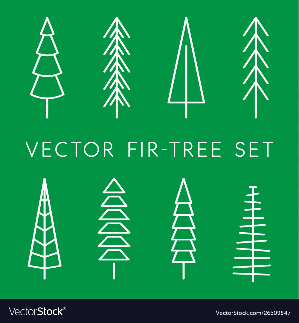 Tree icon set pine line linear outline