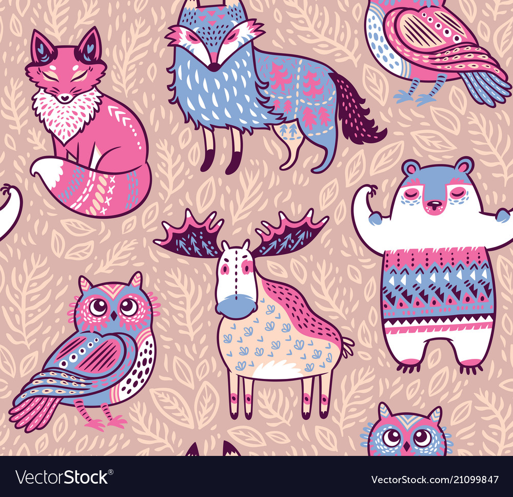Tribal forest animals in cartoon style