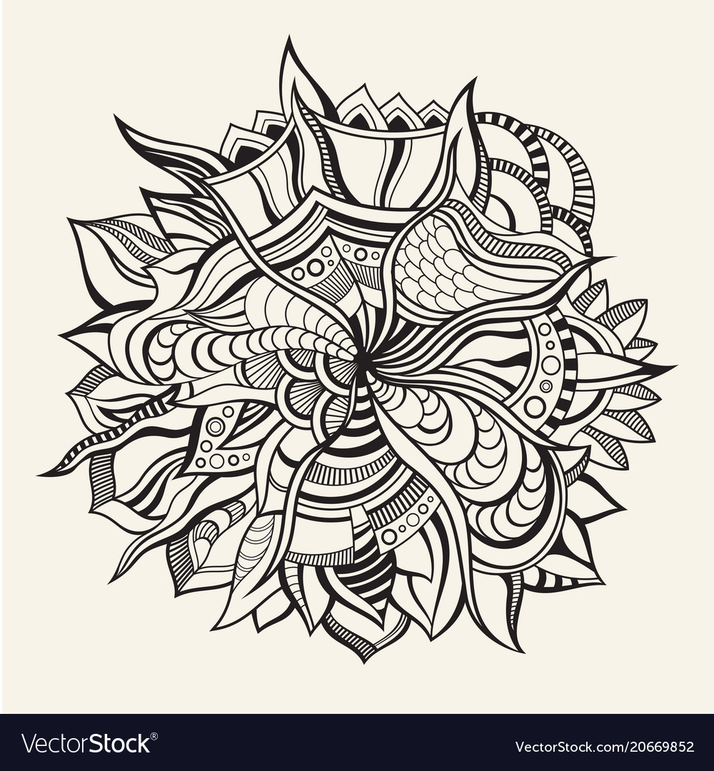 Abstract hand-drawn floral texture wavy background