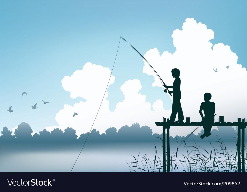 Fishing scene vector image