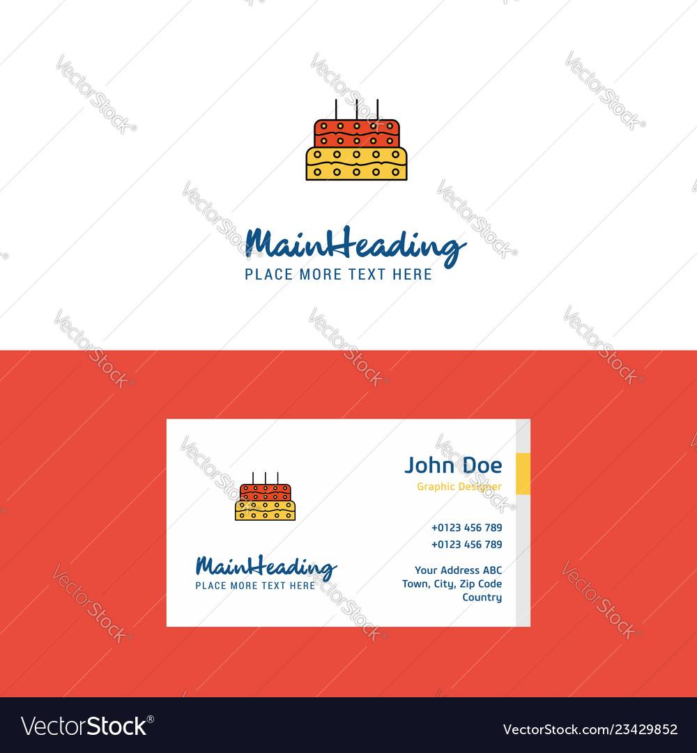 Flat Birthday Cake Logo And Visiting Card Vector Image